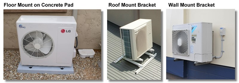 Aircon Condenser Mounting Options Small - Split System Air Conditioners