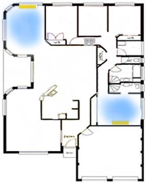 Blue print of cooling area in the room with split AC